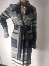 Designer couture Poleci  winter fall coat wool Striped Grey/Purple