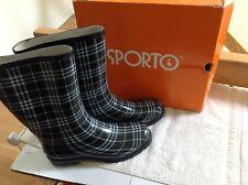 Sporto Rain Boots Black/Gray Plaid- Roma    Womens Size 10
