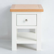 Farrow White Side Table Painted Solid Wood Small Coffee Lamp End Table w Storage