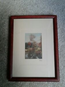 WALLACE NUTTING FRAMED UNTITLED COLORED PRINT, STREAM SCENE WITH FLOWERING TREES