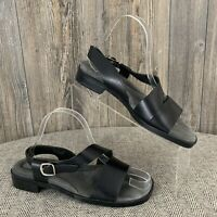"""Etienne Aigner """"Gentry"""" Sandals 9M Flats Black Leather Strappy Made In Brazil"""