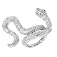 925 Sterling Silver ladies designer Cobra Ring W/ diamonds//NEW DESIGN!! SZ 6-9