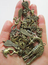 40 pcs tibetan style  Antique Bronze Charms Pendants heart owl key bird giraffe