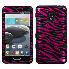 LG Optimus F6 D500 MS500 IMPACT TUFF HYBRID Case Skin Cover 2D Hot Pink Zebra
