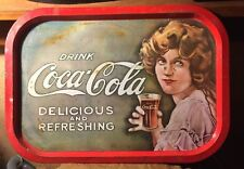 Vintage Coca Cola Victorian Lady Picture Sign Tray 60's Delicious & Refreshing