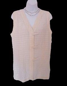 Cream Sleeveless Silk Tunic Size M 6 8 Misses Shirt Long Top Toggle Close Plisse