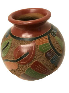 Vintage Brown  Decorative Round Clay Pot  Egyptian Pattern Jar 6x6