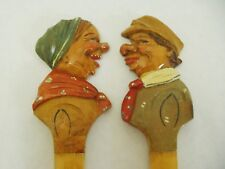 "Vintage hand carved wood Character Spoon & Fork salad set 10"" long"