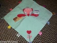 TAGGIES SECURITY BLANKET OWL PINK AQUA FLOWER HEART RATTLE LOVEY BLANKEY GIRL