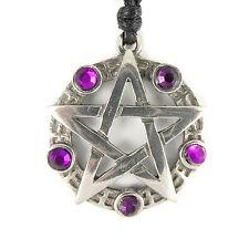 Pentagramma pentacolo Viola pagan wicca Druidi Gotico Collana Con Ciondolo Peltro