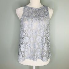 Abercrombie & Fitch Womens Shirt L Tank Lace Gray Split Back Floral Large