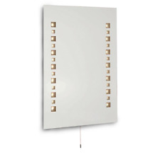 Modern Home Bathroom Mosaic IP44 LED Mirror Light Shaver Socket Pull Cord