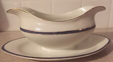 Vintage Johnson Bros England Gravy Boat with attached under plate Blue/Gold Trim