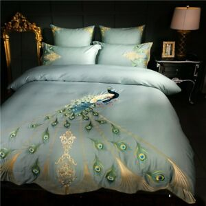 Embroidery Egyptian Cotton Bedding Set Peacock Queen King Duvet Cover Bed Sheet