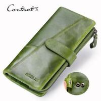 New Fashion Women Genuine Leather Cowhide Wallet Long Clutch Credit Card Purse