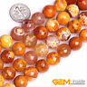 12mm Orange Crackle Agate Faceted Round Loose Spacer Beads For Jewelry Making
