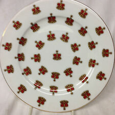 "EDWARDIAN COLLECTION ENGLAND RED & GOLD CROWNS SALAD PLATE 8 1/8"" GOLD TRIM"