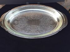 "Silverplate Serving Tray with Glass Baking Dish Insert - Large 20"" Oval"