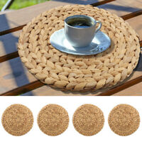 Round Woven Placemats for Table Straw Braided Placemat Heat Resistant Non-Slip