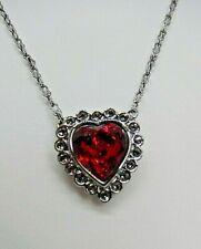 "Signed Swarovski Necklace Red Heart Gunmetal Gray Petite 15 - 17"" N81"