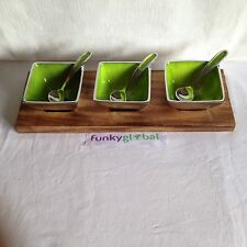 Lime, recycled aluminium dips & nibbles Bowls set on wood tray Fair Trade