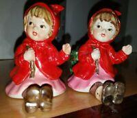 Vintage Lefton Girls Figurine Red Polka Dot Coat Candlestick Holder Rare Pair