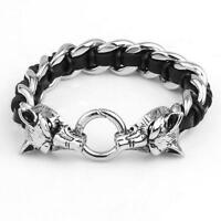 Heavy Viking Wolf Head Silver Titanium Stainless steel HQ Leather Bracelet Gift