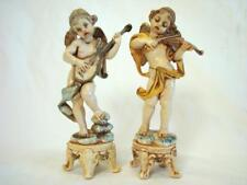 2 Fontanini Depose Italy 6'' Cherubs on Pedestal Stands with Spider Mark