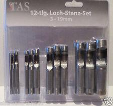 NEU # TAS TOOLS stabiles 12-tlg. LOCH-STANZ-Set 3 - 19 mm Locheisen Lochstanzer