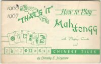 1966 How to Play Mah Jong with Playing Cards & Chinese Tiles Booklet
