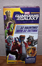 Valentines Day Cards (Box of 32) Marvel Guardians Of The Galaxy with Tattoos