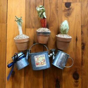 GARDEN SUMMER DECORATION LOT OF 6 TABLE DECORATION Plants Watering Cans Outdoors