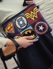 Funky Amazing SUPERHERO Clutch Bag Studded Ladies Leather Shoulder Handbag
