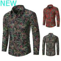 Slim Fit Luxury Blouse Casual Long Sleeve Mens Floral Dress Shirts Top Shirt