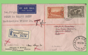 Australia 1934 First Flight cover, Perth to Hall's Creek, with 1/- tax