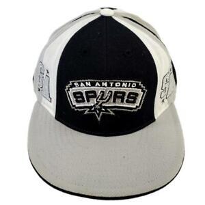 San Antonio Spurs Hat NBA 7 5/8 Reebok Fitted Black White Gray Wool Basketball