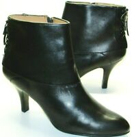 Sofft Black Leather Lace-Up Booties Comfort Shoes Women's Size US 10 M