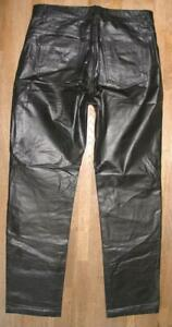 "Wow Joli D'Homme Jean en Cuir/ Pantalon Cuir Noir W34 "" / L33 "" Env. Gr. 50"