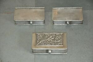 3 Pc Old White Metal Floral Embossed Book Shape Handcrafted Betel Nut Box