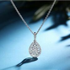 Fashion 925 Silver Necklace Pendant Women White Sapphire Wedding Jewlery Gift