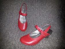 JOSE SAENZ-Mary Jane Slingbacks-Red Leather-Adjustable Instep-Sz 37-Excellent