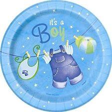 Unique Party 42504 - 18cm Blue Clothesline Baby Shower Plates P
