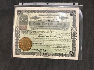 NEVADA 1900 Crystal Lake Gold Mining Company Stock Certificate
