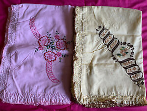 New Embroidered Standard Cotton Pillow Covers Lot Of 4 Pink,pastel,creme