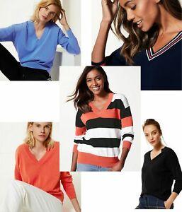 Ex M&S Marks & Spencer Womens Cotton Stripe V Neck Jumper Long Sleeve Top