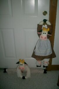 """Cute Handmade """"Cow Couple"""" Door Draft Stoppers Brown & Peach Outfit ~ 1970's"""