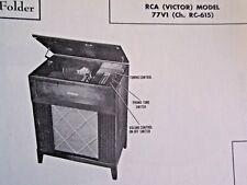 RCA 77V1 PHONOGRAPH - RADIO RECEIVER PHOTOFACT
