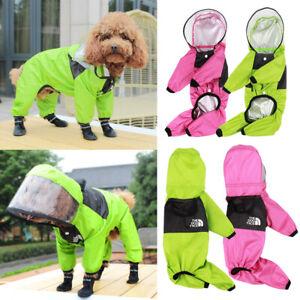 Pet Dog Raincoat Waterproof Sheer Hooded Jumpsuit Puppy Rain Jacket Coat Suits
