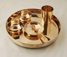 Set of 6 Bronze Kansya Thali  Katori Bowl Dinner Plate Utensil Dinnerware