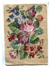ANTIQUE ORIGINAL BERLIN WOOLWORK HAND PAINTED CHART PATTERN ROSES & FLOWERS